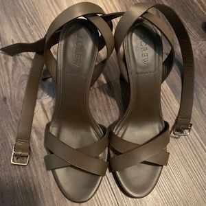 J.crew leather cross ankle strap sandal